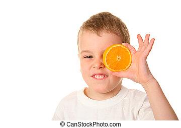 bambino, con, arancia