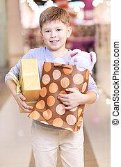 bambino, con, regali