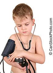 bambino, con, sphygmomanometer