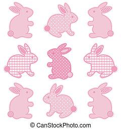 bambino, coniglietti, percalle, punti polca