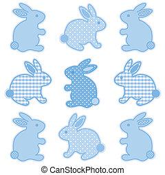 bambino, coniglietti, punti, percalle, polka