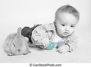 bambino, coniglietto pasqua
