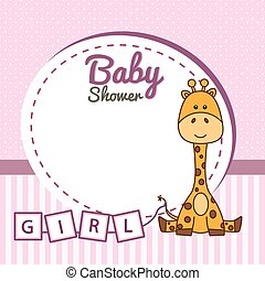 bambino, cornice, giraffa