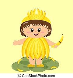 bambino, costume., banana