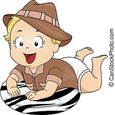bambino, costume, safari