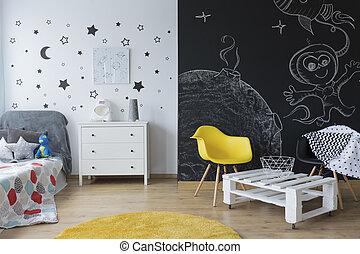 bambino, creativo, camera letto