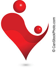 bambino, cuore, mamma, figura, logotipo