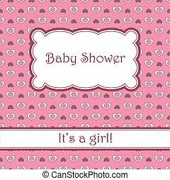 bambino, cuori, doccia, fondo