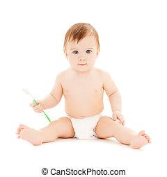 bambino, curioso, denti spazzolatura