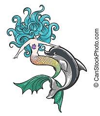 bambino, delfino, sirena