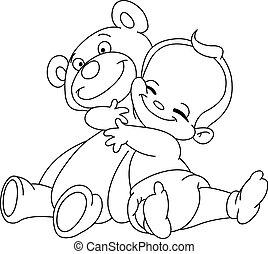 bambino, delineato, abbraccio, orso