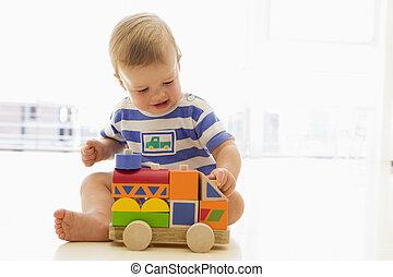 bambino, dentro, camion, gioco