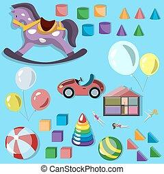 bambino, differente, giocattoli, icona, set