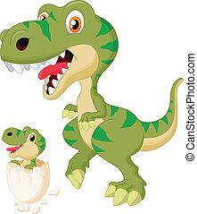 bambino, dinosauro, ombreggiatura, madre
