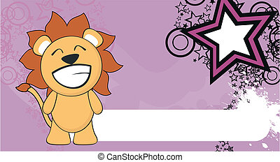 bambino, divertente, leone, cartone animato, background2