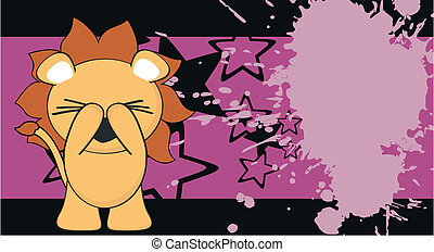 bambino, divertente, leone, cartone animato, background8