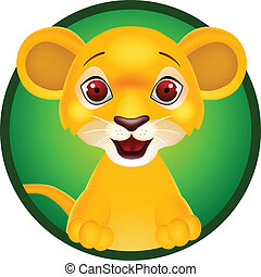 bambino, divertente, leone