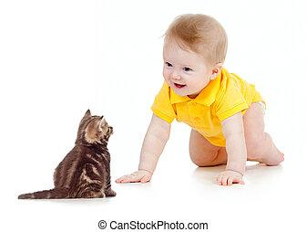 bambino, divertente, strisciare, gatto