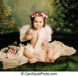 bambino, dolce, ragazza, angelo