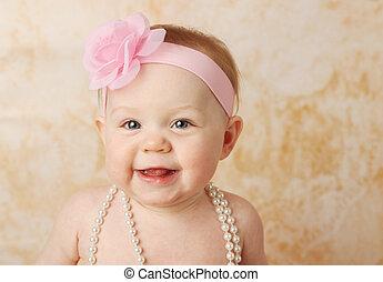 bambino, dolce, ragazza sorridente
