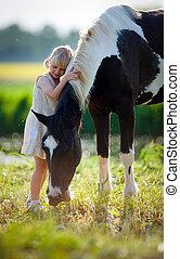 bambino, e, cavallo, in, limare