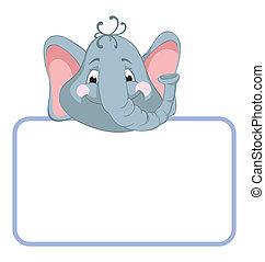 bambino, elephant., bandiera, animale