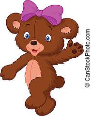 bambino, felice, cartone animato, orso