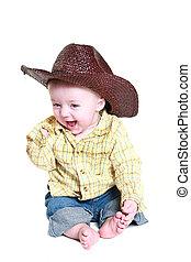 bambino, felice, cowboy