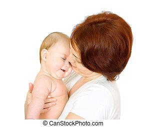 bambino, felice, madre
