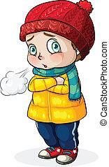 bambino, freddo, sentimento, caucasico