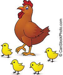 bambino, gallina, madre