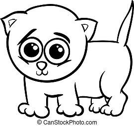 bambino, gattino, coloritura, cartone animato, pagina