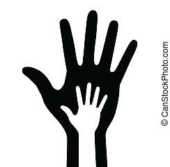 bambino, genitore, mano