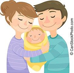 bambino, genitori, abbracciare