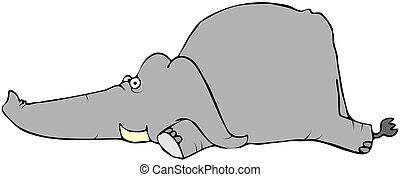 bambino, giù, posa, elefante