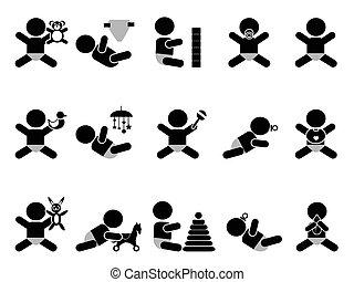 bambino, giocattoli, icona