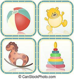 bambino, giocattoli, icone