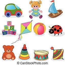 bambino, giocattoli, set