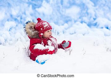 bambino, gioco, con, neve, in, winter.
