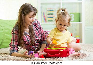 bambino, gioco, giocattolo, educativo, madre