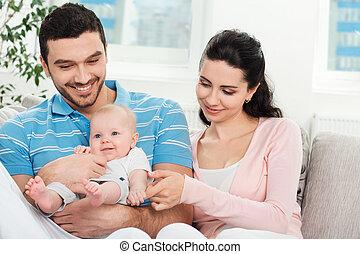 bambino, giovane famiglia, felice