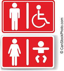 bambino, handicappato, uomini, bagno, donne