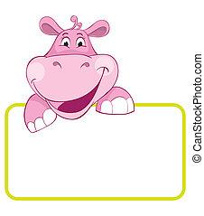 bambino, hippo., bandiera, animale