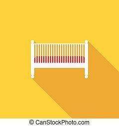bambino, icona, stile, letto, appartamento