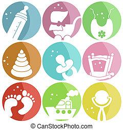 bambino, icone, nove, vestiti