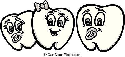bambino, illustrazione, denti