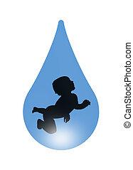 bambino, in, uno, goccia acqua