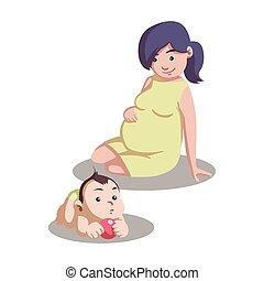 bambino, incinta, madre