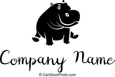 bambino, ippopotamo, immagine, vettore, logotipo