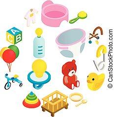 bambino, isometrico, set, 3d, icona